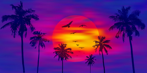 Foto op Aluminium Violet Palm trees on the orange full moon