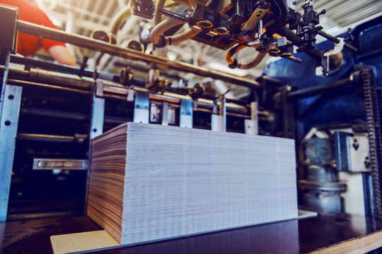 Cropped picture of printed sheets in printing machine. Printing shop interior.