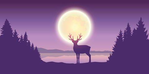 Poster Violet lonely reindeer in forest at full moon by the lake vector illustration EPS10