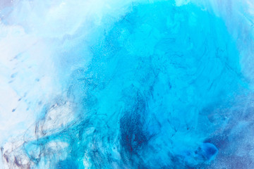 Abstract liquid blue ocean background with bubbles. Fresh underwater paints backdrop
