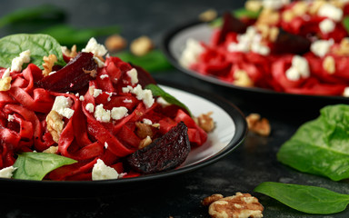 Roast Beetroot Pasta with spinach, walnuts and feta cheese. healthy food