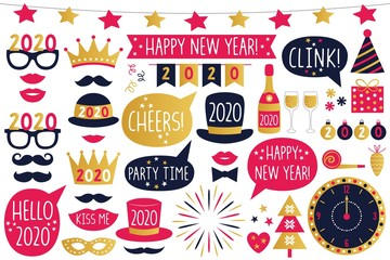 Happy New Year 2020 vector party signs and photo booth props, isolated on white