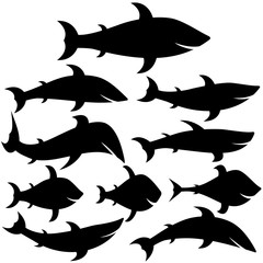 Fishes silhouettes collection in different poses. Set of sea and river fishes. Isolated on white background. Vector illustration.