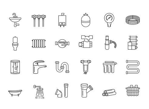 Set of plumbing icons. Plumber, faucet,water filter, piping, septic, bathtub, valve, water meter,tap, sewer, washbasin, restroom,shower stall,sink,bath,washing machine, dishwasher, bidet,water supply