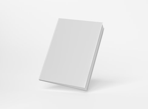 Blank A4 book hardcover mockup floating on white background 3D rendering