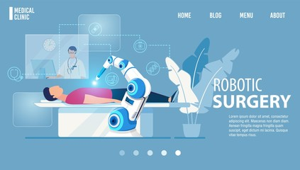 Robotic Surgery Innovative Medicine Flat Landing Page. Modern Medical Technologies. Cartoon Robot Arm Manipulating with OR Patient under Surgeon Control. Innovative Medicine. Vector Illustration