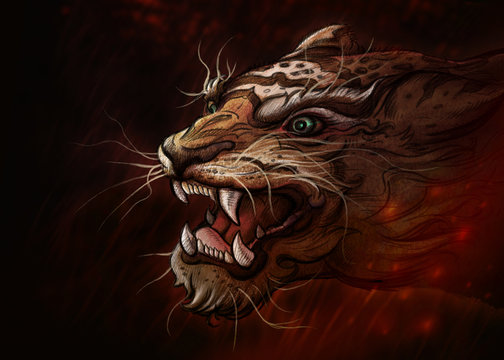 Tiger of art.digital art style, illustration painting