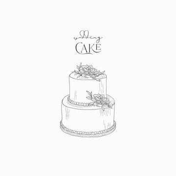 Hand drawn wedding cake with flowers vector illustration sketch, logo, branding