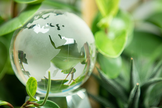 green earth concept glass sphere