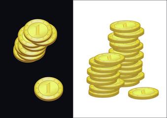 Deux images avec des pièces en or avec le chiffre 1 empilées les unes sur les autres avec deux perspectives différentes, fond noir et  fond blanc.