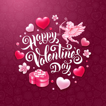 Valentines Day Greeting Card With Cupid, Gift And Hearts