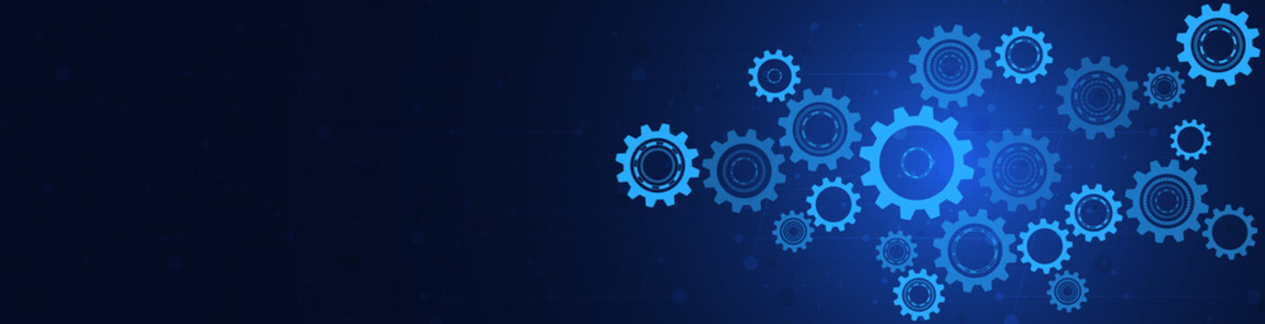 Cogs and gear wheel mechanisms. Hi-tech digital technology and engineering. Abstract technical background.