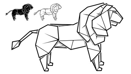 Image of paper lion origami (contour drawing).