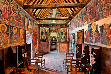 Wall Murals Cyprus Inside the church of Archangel Michael at Pedoulas village, Cyprus. It is one of the 10 byzantine churches of Troodos mountain listed as UNESCO World Heritage Sites.