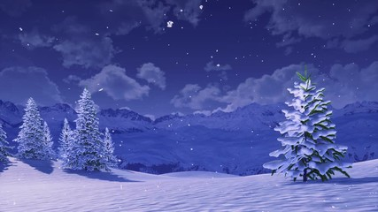 Wall Mural - Peaceful winter scenery with snow covered fir trees high in snowy alpine mountains at wintry night during snowfall. With no people 3D animation for Xmas or New Year background rendered in 4K