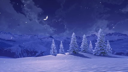 Wall Mural - Serene winter landscape with snowbound fir trees high in snowy alpine mountains at wintry night with half moon in sky during snowfall. 3D animation for Xmas or New Year background rendered in 4K