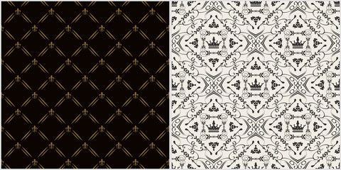 Vintage backgrounds, patterns. Renaissance art. Two modern background pictures in retro style. Seamless vector backgrounds. Set of patterns. Colors in the image: black, white, gold. Vector image.