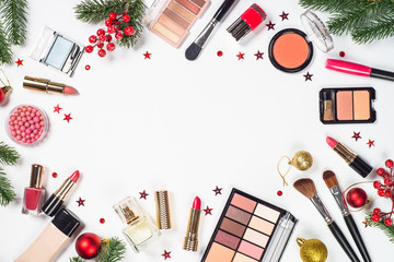 Makeup professional cosmetics with christmas decor.