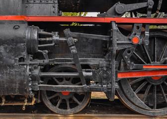Railroad history: old steam locomotive in Alcazar de San Juan, Ciudad Real, Spain.