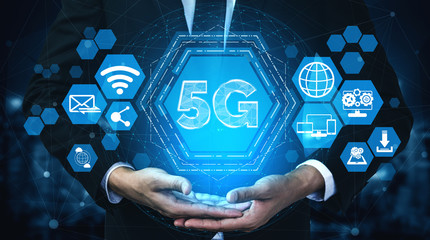 5G Communication Technology Wireless Internet Network for Global Business Growth, Social Media,...