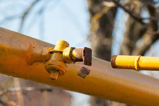 Sealed plug on the main gas pipeline. Gas shutdown