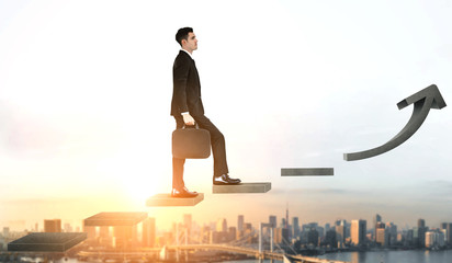Business man climbing up stair steps to career success with business district and horizon skyline as background. Concept of business goal success, growth of career path and starting up a new business.