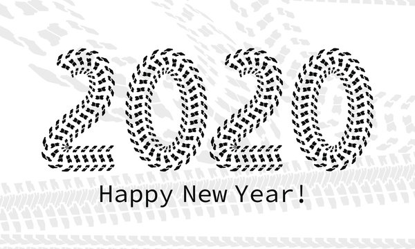 figures 2020 drawn tire marks. New year banner.