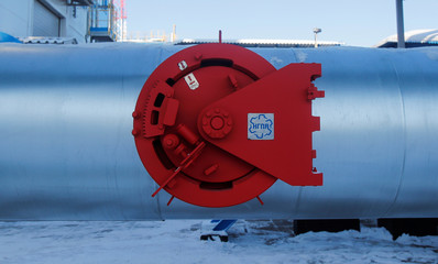 Gas pipeline is pictured at the Atamanskaya compressor station, facility of Gazprom's Power Of Siberia project outside the far eastern town of Svobodny