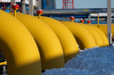 Gas pipelines are pictured at the Atamanskaya compressor station, part of Gazprom's Power Of Siberia project outside the far eastern town of Svobodny