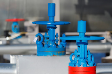 Valves are pictured at the Atamanskaya compressor station, part of Gazprom's Power Of Siberia project outside the far eastern town of Svobodny