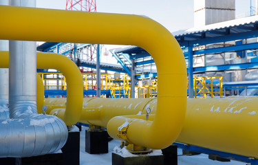 Gas pipelines are pictured at the Atamanskaya compressor station, facility of Gazprom's Power Of Siberia project outside the far eastern town of Svobodny