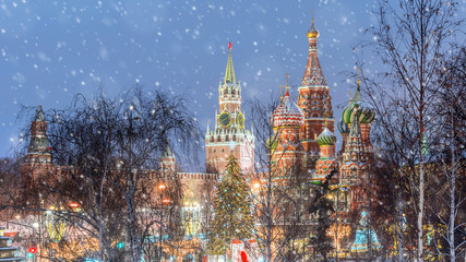 Christmas in Moscow.A view of Zaryadye Park to the Kremlin