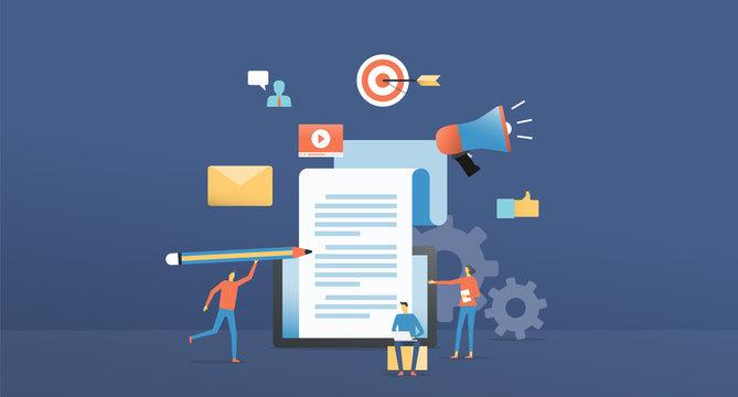 flat  illustration design content marketing online creator concept