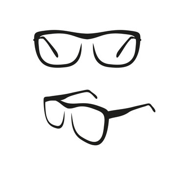 Reading glasses icon in brush strokes style
