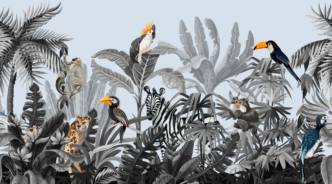 Seamless border with jungle trees and animals in monochrome style.