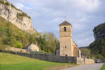 The church Saint-Jean-Baptiste in Baume-Les-Messieurs in the commune Jura department in Franche-Comté, France.