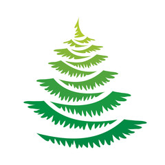 Vector green new year tree