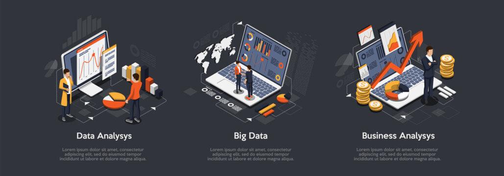 Isometric set of Data analysis, Big Data, Business analysis.