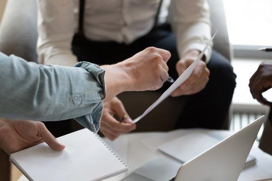 Closeup image banker explain contracts terms client discuss credit application