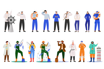 Maritime professions flat vector illustration. Sailors in uniform. Marine occupation. Nautical career. Cruise service. Ship team isolated cartoon characters on white background