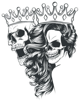 tattoo of King and queen of death. Portrait of a skull with a crown.