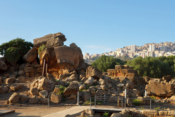 Ruins of temple of Olympian Zeus in valley of the Temples in Agrigento