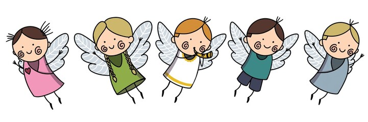 Cute Baby Angels with Wings Set, Adorable Boys And Girls Cartoon Characters in Cupid or Cherub Costumes Raster Illustration