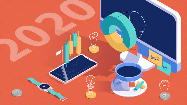 ETF, Strategic financial management concept. Business strategy. Success in the business. 3d isometric design. Vector illustration.