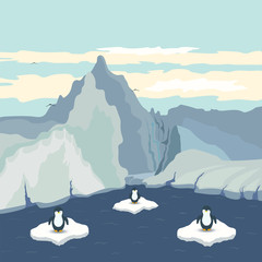Vector illustration with the view of the Antarctic, ice floes and penguins. Happy New Year. Winter and New Year print design. Cartoon style. Cute card. Picture with landscape.
