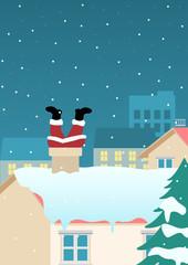 Santa Claus stuck on chimney