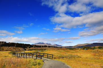Photo sur Aluminium Bleu fonce Autumn landscape of Pingvellir National Park, Iceland, Europe