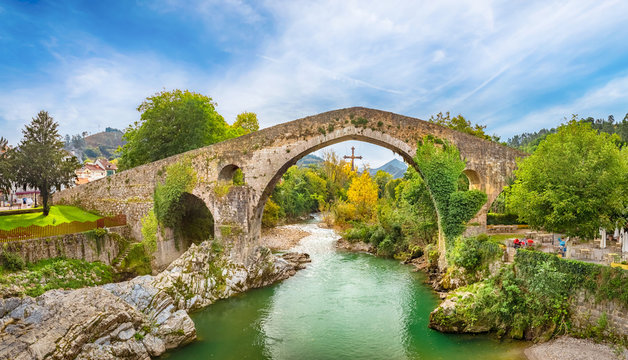 Roman hump-backed bridge on the Sella River in Cangas de Onis, Asturias, Spain