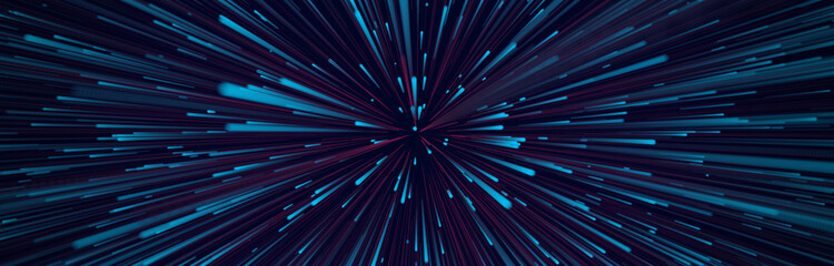 Abstract circular speed background. Centric motion of star trails. Starburst dynamic lines or rays. 3D rendering. Fotomurales
