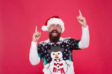 Feeling awesome successful cheerful. Christmas celebration. Having fun. Happiness and joy. Celebration time. Emotional man Santa hat celebrate new year. Traditional celebration. Emotional expression
